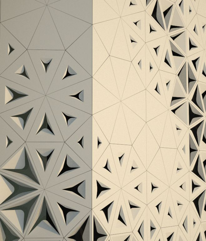 The architects created perforations in the screen, which allow light to enter the building, and also refer back to the region's textile traditions.
