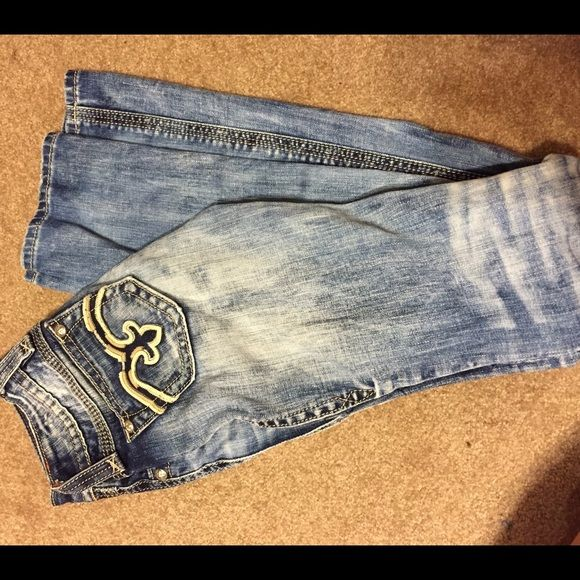 Rock Revivals Size 23 Rock Revival Jeans! Super cute, not skinnys. Love the color of them, light and medium fading. These were my FAVE!!! Missing the button to them, so will sell cheap Rock Revival Pants Boot Cut & Flare