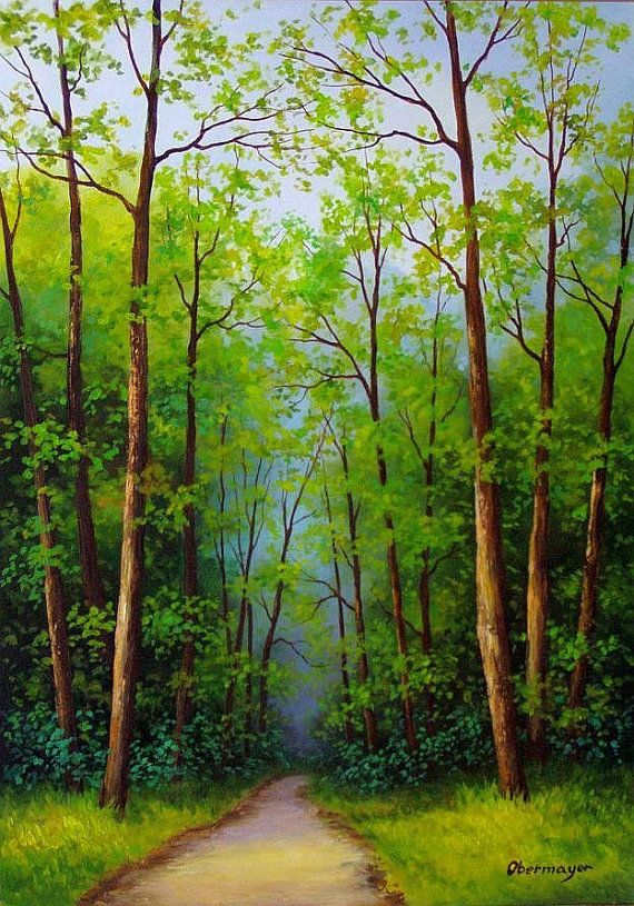 Original Oil Landscape painting  title: Deep forest