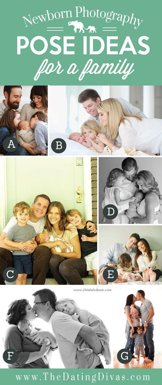 Family photo posing ideas with a newborn