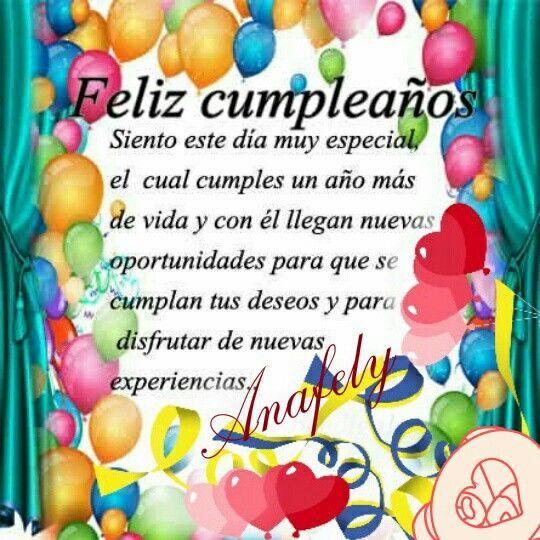 Anafely te felicita cumpleaños Cumpleaños Pinterest Tes