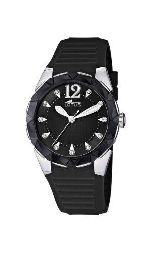Lotus 15732/4 - Reloj analógico de cuarzo para mujer con correa de caucho color negro