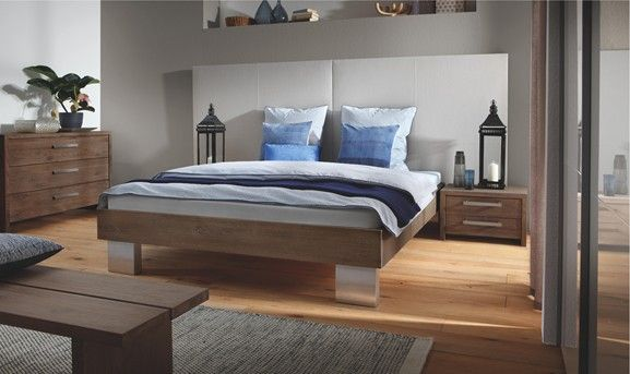 Contemporary Designer Beds » Quada Avipa 2 XL Solid Oak Bed/Real Leather » Hasena Quada Avipa 2 XL Solid Oak Bed/Real Leather - Head2Bed UK