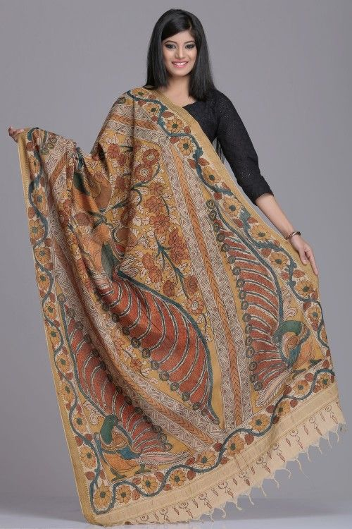 Kalamkari Dupattas | Beige Kalamkari Cotton Dupatta With Multicoloured Floral Vine Border, Peacock