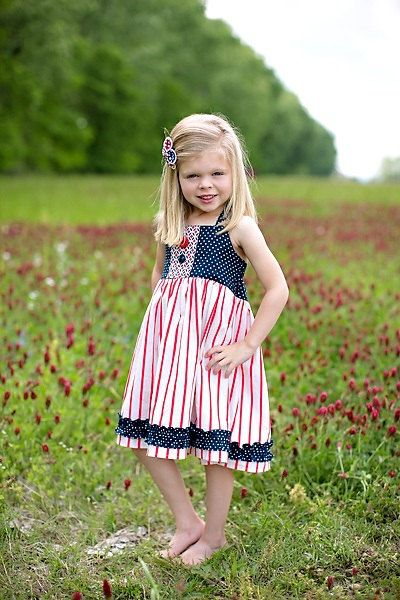 Girls Patriotic 4th of July Halter Dress  Sizes by EmmiLeeDesigns, $42.00