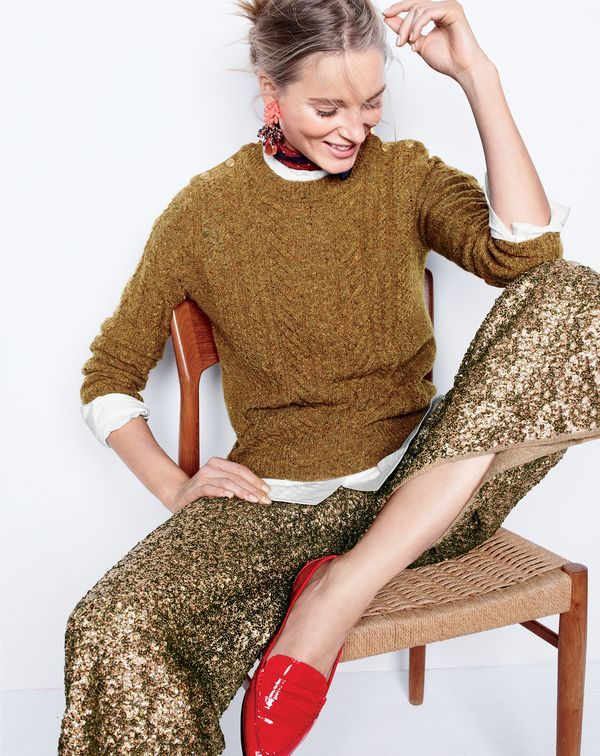 J.Crew women's perfect cable sweater, Thomas Mason® for J.Crew collarless tuxedo shirt, Collection culotte in sequin, mixed media drop earrings, pocket square in bordered dot and Collins patent loafers.