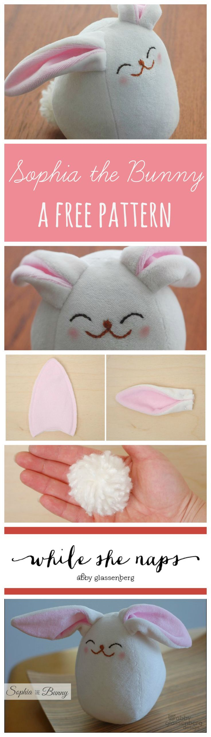 A free pattern for Sophia the Bunny - such a cute bunny softie sewing pattern!