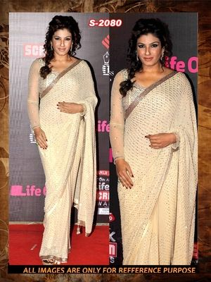 cream ambroidery georgette  party wear saree with blouse Sarees on Shimply.com