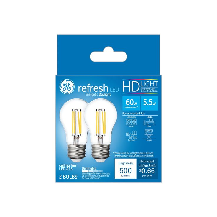 General Electric Led Bulbs: 60W Refresh 2pk A15 CF Clear Led Light Bulb White