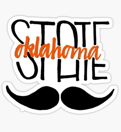 Oklahoma State University Calligraphy w Mustache Sticker