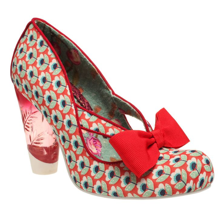 NEW IRREGULAR CHOICE *HELLO HA* CUT OUT FLORAL PATTERN LUCITE HEELS-UK 4-5-6-7-8