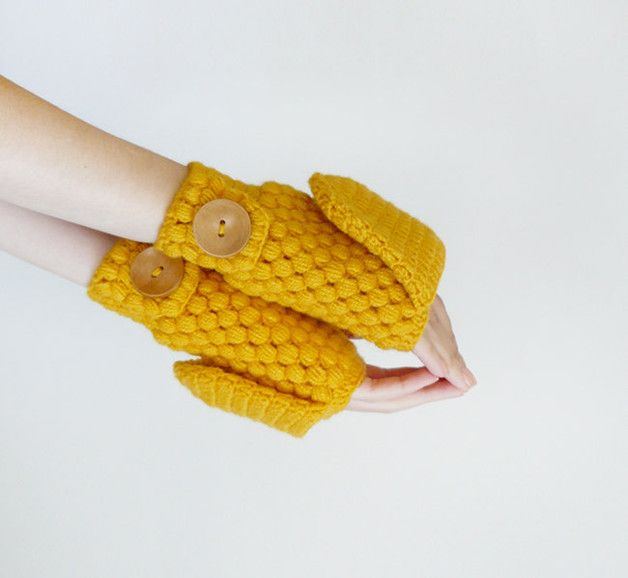 Gloves – Crochet Gloves In Yellow, Wool Convertible Mittens – a unique product by tsvm on DaWanda