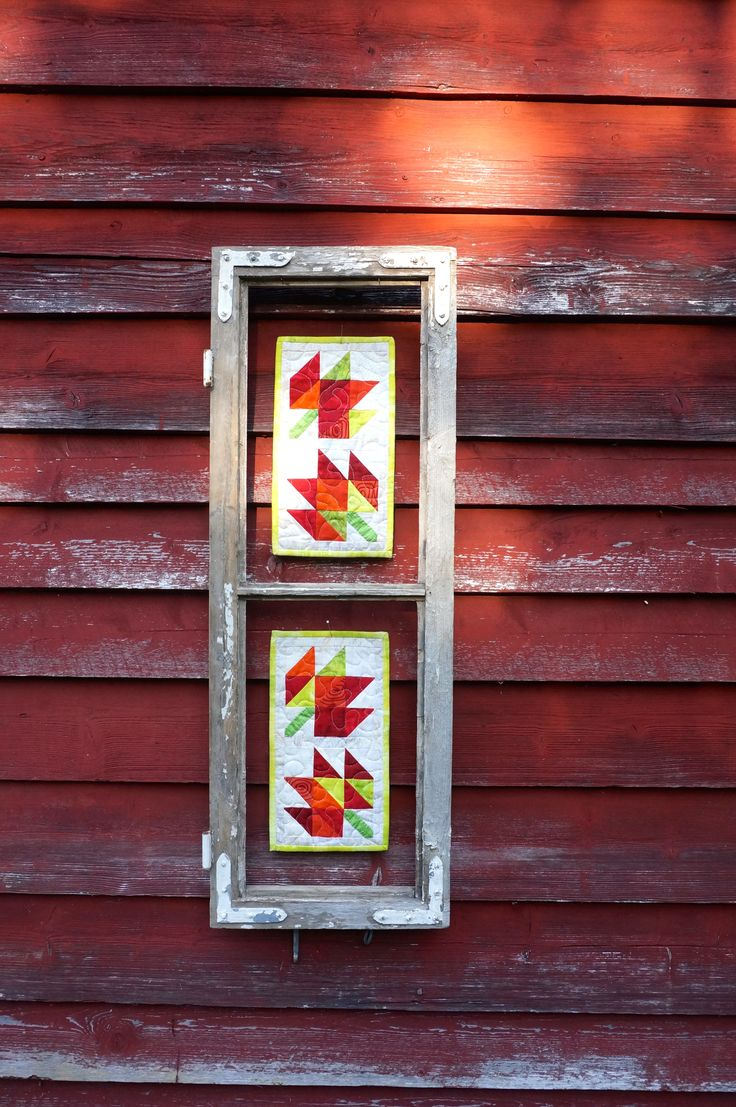 An old window frame .. and two mini quilts