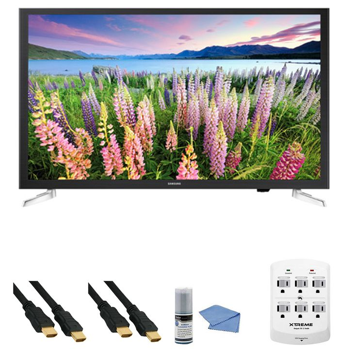 Samsung UN32J5205 - 32-Inch Full HD 1080p Smart LED HDTV   Hookup Kit - Includes TV, HDMI to HDMI Cable 6', 6 Outlet Wall Tap Surge Protector with Dual 2.1A USB Ports and Cleaning Kit Review