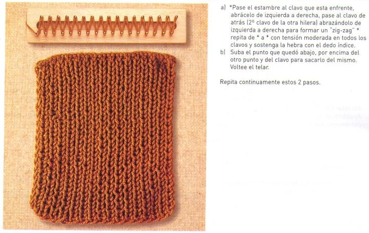 Loom knitting stitches, instructions in Spanish ♥LLK♥ Telar rectangular instruccciones en Español #2