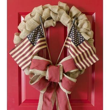 Vintage American Flags on a Burlap Wreath