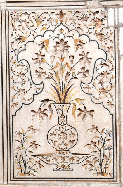 Lahore - Qila - Panel I    ::    A decorated marble panel adorning on of the inner courts of the Lahore Fort.