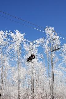 On the ski lift at Wisp Resort.