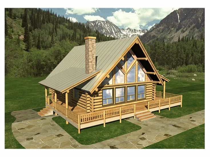 012l 0009 a frame log home plan with vaulted great room - Luxury Mountain Log Home Plans