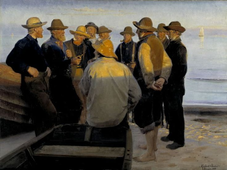 Michael Ancher (1849-1927):  'Fishermen by the Sea on a Summer's Evening', 1888