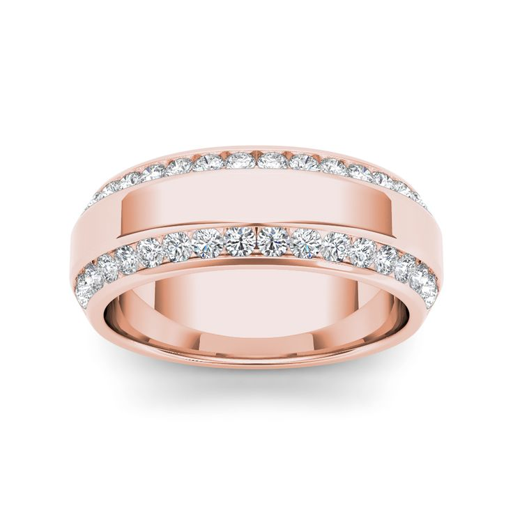 Seal your commitment to him with this rose gold wedding band that is just his style. Emitting pristine brilliance, two rows of round-cut diamonds are channel-set that reflect light within the gold band.