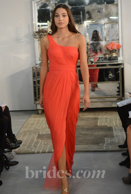 wtoo coral one shoulder bridesmaids dress-I like this color!
