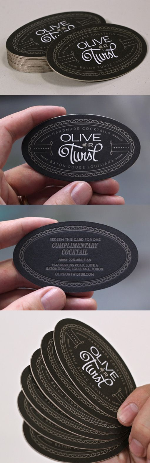 Best 25 die cut business cards ideas on pinterest free business black and gold edge painted oval die cut letterpress business card for a cocktail bar magicingreecefo Choice Image