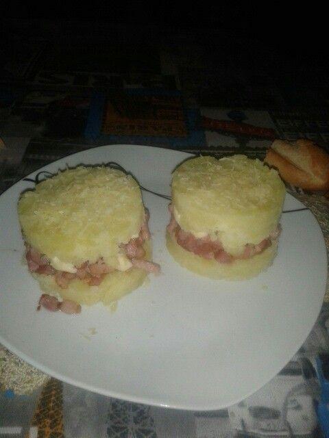 Pure con bacon y queso