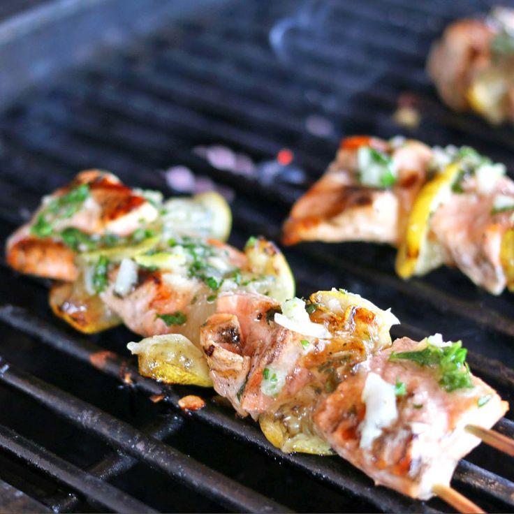Grilled lemon Salmon Kebabs