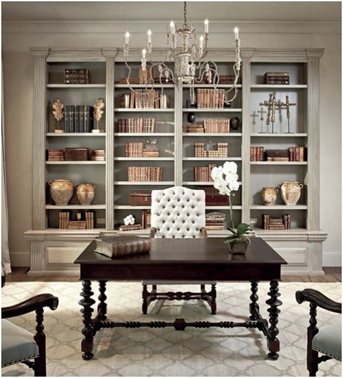 greige room inspirationimage source marthastewartcom custom homesoffice - Home Office Decor