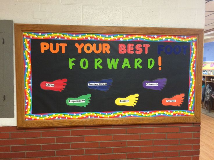 Put Your Best foot Forward! 6 pillars of character on the feet. Elementary school hallway bulletin board made by counselor