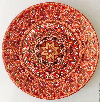 Декоративная посуда ручной работы. Ярмарка Мастеров - ручная работа. Купить Декоративная тарелка Сицилийский апельсин. Handmade. Ярко-красный