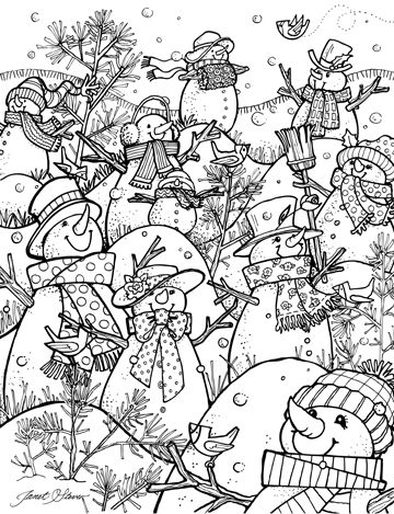 Adult Coloring-A Hill Of A Lot Of Snowmen