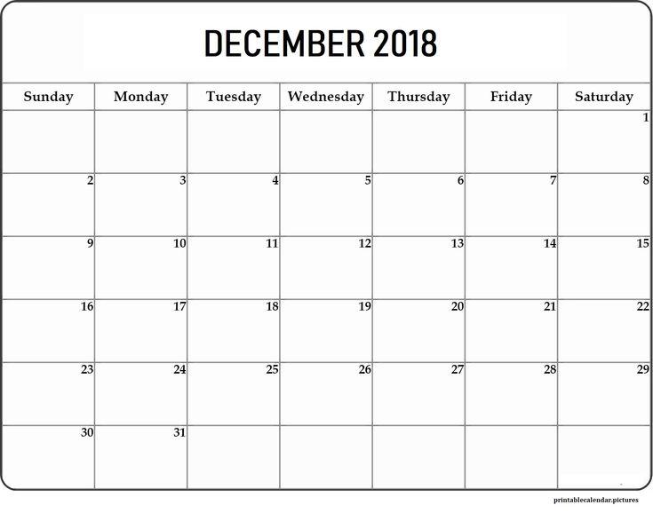 Printable December 2018 Calendar Printable December 2018 Calendar
