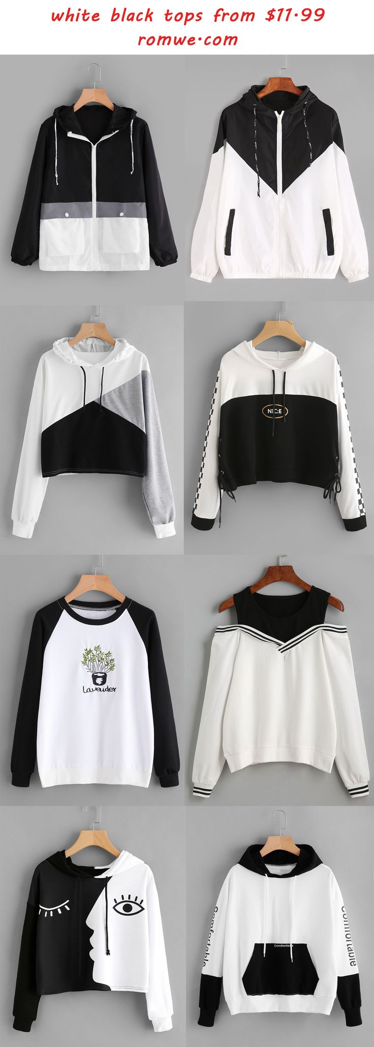 white & black tops - romwe.com