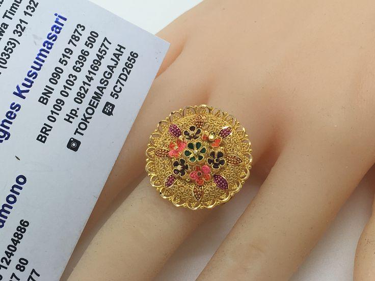 22k / 91,6% Gold Dubai / India Flower Ring size adjustable