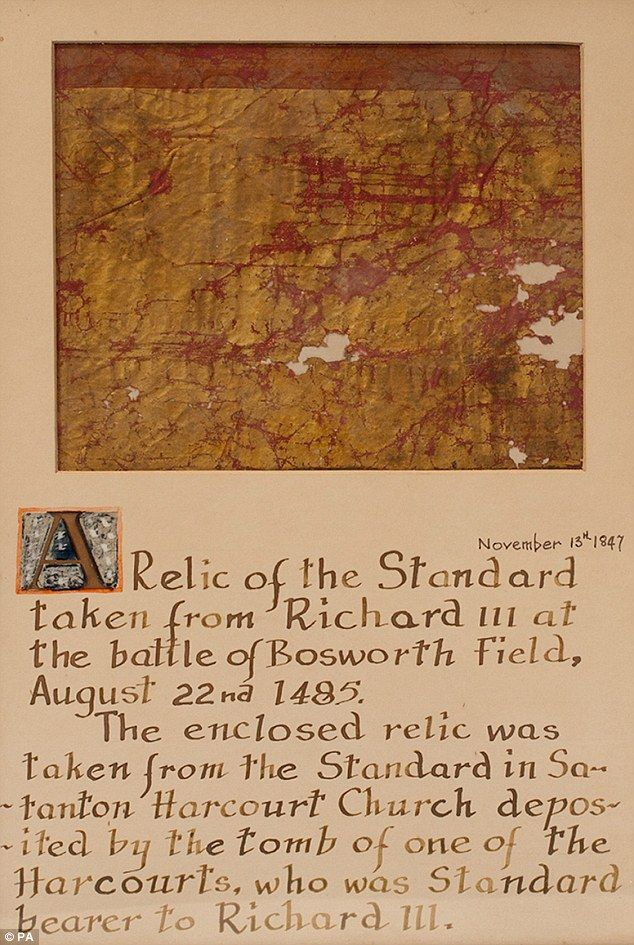Relic of the standard taken from Richard III on 22 Aug 1485 at Bosworth Field, where the Yorkist king was defeated, and the Tudor dynasty began.