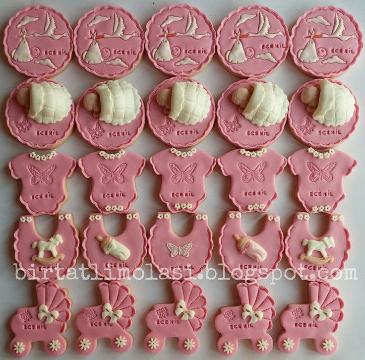 kız bebek babyshower yenidoğan kurabiyeleri