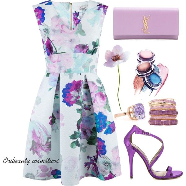 Floral Dress by oribeauty-cosmeticos on Polyvore featuring moda, Closet, Michael Antonio and Yves Saint Laurent