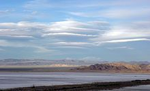 Lenticular clouds over Soda Lake, Mojave Desert, California