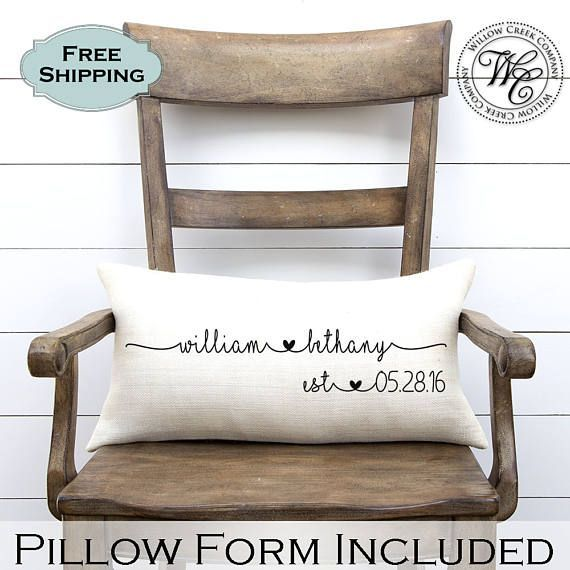 FREE SHIPPING!!! Willow Creek Companys personalized burlap pillow would make the perfect decoration for your home or a rustic wedding decor. These wedding pillows are also a perfect keepsake to bestow upon a friend or loved one as a wedding gift, engagement gift, shower gift, anniversary gift, birthday gift, housewarming gift, Christmas gift or Valentine's day gift. Each wedding pillow is professionally printed with natural water-based pigments on real burlap fabric. • • • • • • • • • • •…