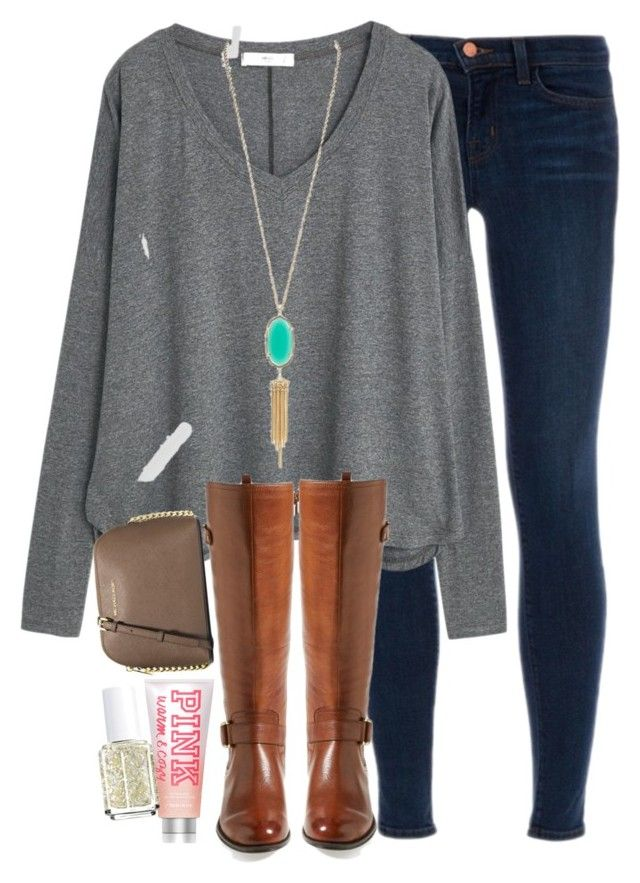 """""""xoxo elizabethanneee"""" by southern-prep-gals ❤ liked on Polyvore featuring J Brand, MANGO, Kendra Scott, Naturalizer, MICHAEL Michael Kors, Victoria's Secret PINK, Essie, women's clothing, women and female"""