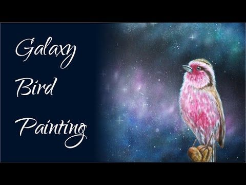 Galaxy Bird - Acrylic Painting with Airbrush galaxy background
