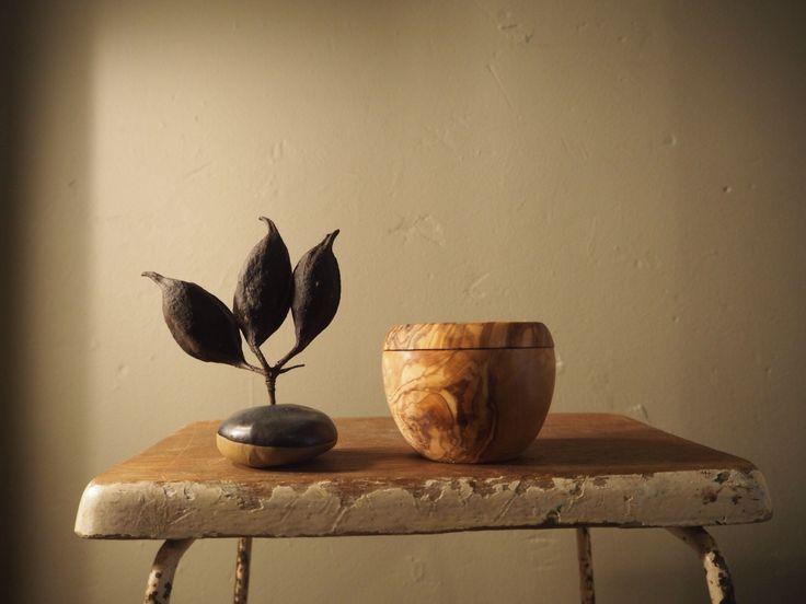 Olive wood sugar pot