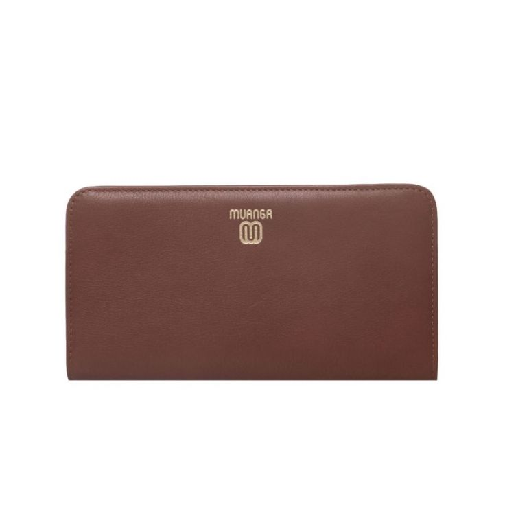 MUANGA | Grace Continental Wallet in hot brown grain leather with interior details in rose quartz calf leather.