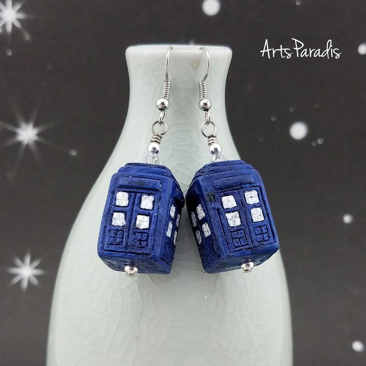 Blue and White British Police Box Ceramic Drop Earrings by ArtsParadis