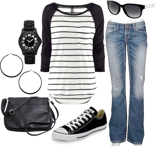 super Casual and retro black and white with Striped baseball tee, and converse low tops. #fashion