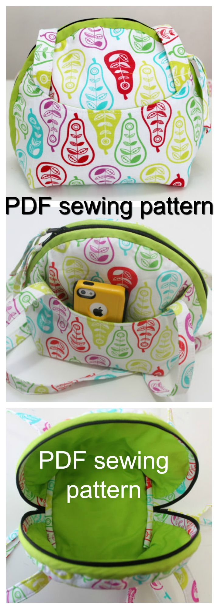 PDF downloadable purse sewing pattern.