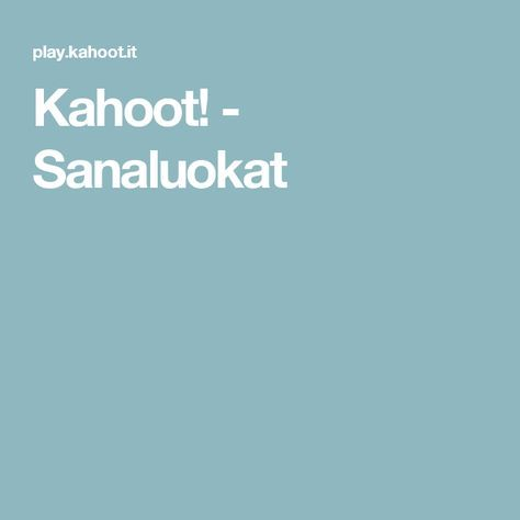 Kahoot! - Sanaluokat