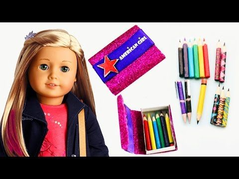 How to make AMERICAN GIRL PENCILS, PENS and PENCIL CASE - YouTube